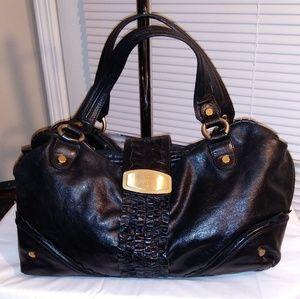 Bill Blast Large Black Crackling Leather Ruffle Ha